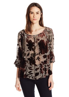 Democracy Women's Drop Waist Printed Flounce Top  L