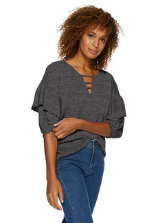 Democracy Women's Elbow Ruffle Sleeve Top with Bar Cut Out  M