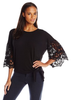 Democracy Women's Elbow Sleeve Sweater with Crochet Sleeve Detail