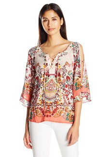 Democracy Women's Elbow SLV Cold Shldr Lace up Henley  S