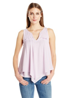 Democracy Women's Emb. Crochet Yoke DBL Layer Hanky Hem Tank  S