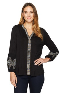 Democracy Women's Emb Plkt and Blouson Sleeve Knit to Woven Top  S