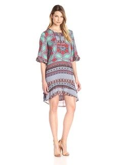 Democracy Women's Emb. Yoke Tie Neck Cascade SLV High Low Dress  L