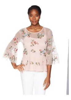 Democracy Women's Embroidered Mesh Top  M