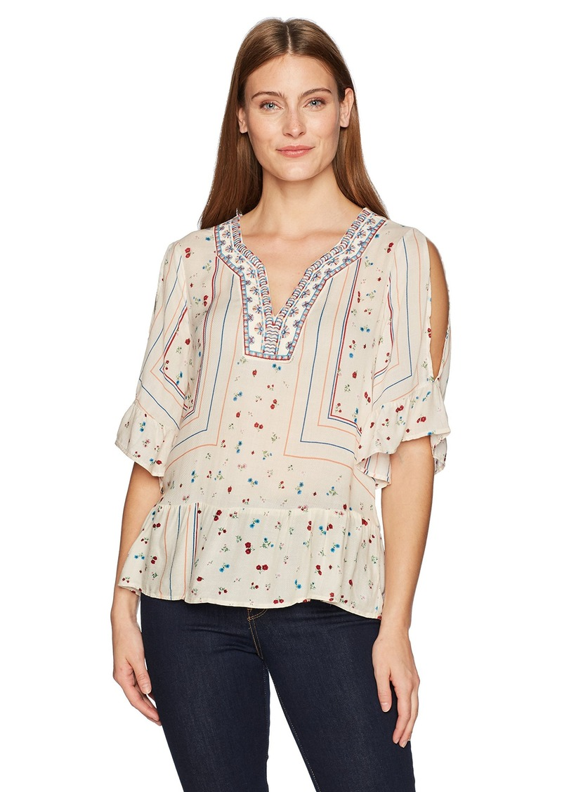 Democracy Women's Embroidered Neck Tee with Elbow Length Cold Shoulder  M