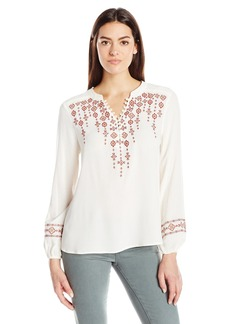 Democracy Women's Embroidered Tunic Covered Button Placket with Blouson Sleeve
