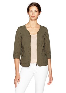 Democracy Women's Flap Pocket Jacket W/Tape Yarn Contrast  S