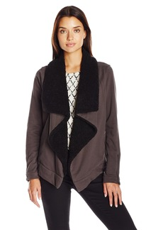 Democracy Women's French Terry with Faux Fur Collar Cascade Open Front Jacket