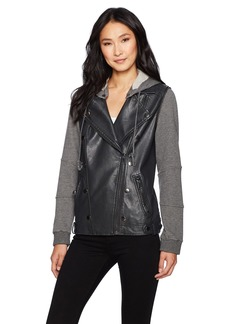 Democracy Women's Hooded Moto Jacket W/Military Details  S