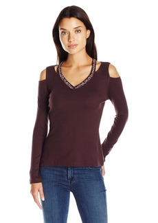 Democracy Women's Knit Cold Shoulder Top with Embroidered V Neck