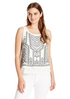 Democracy Women's Knit Popover Tank with Contrast Stitching and Button up Detail on Back