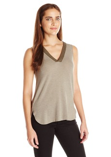 Democracy Women's Knit Suede Trim V-Neck Tank with Lace up Back and Rounded High Low Hem