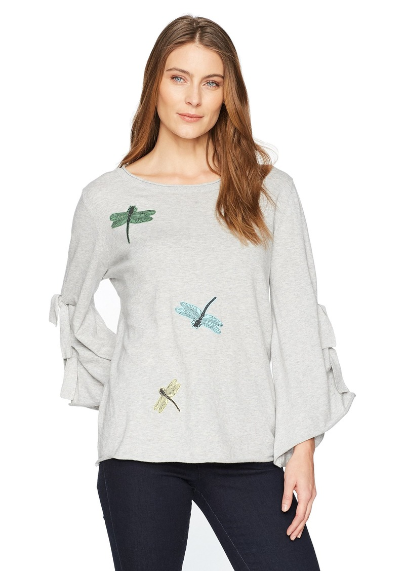 Democracy Women's Knit Top Tie Sleeve Embroidery  XS