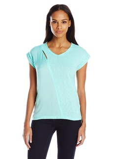 Democracy Women's Knit/Woven Short Sleeve Tee with Crochet Trim