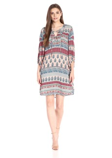 Democracy Women's Lace up Front Dress With Poet Sleeve