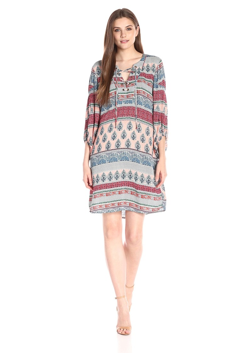 Democracy Women S Lace Up Front Dress With Poet Sleeve