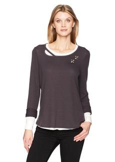 Democracy Women's Long Sleeve 2-Fer Sweatshirt  L