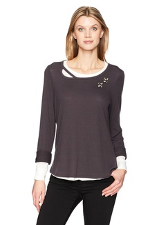 Democracy Women's Long Sleeve 2-fer Sweatshirt  S