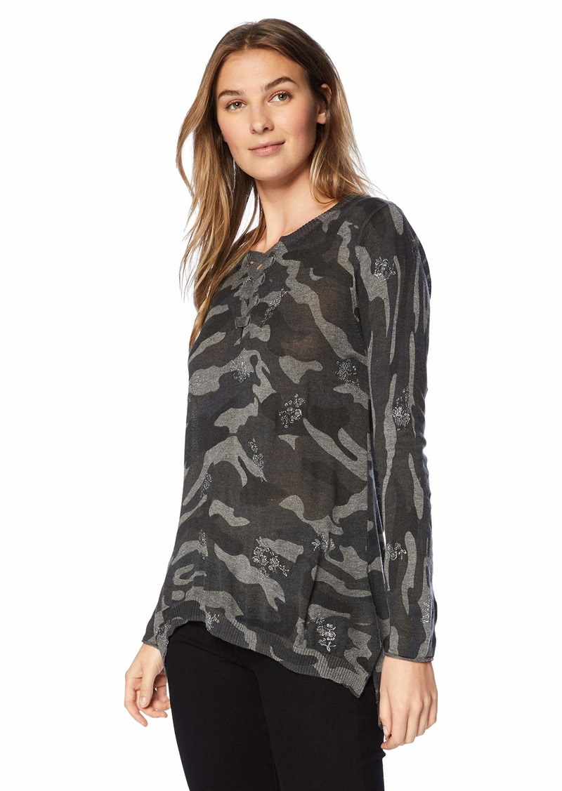 Democracy Women's Long Sleeve CAMO HI LO Sweater  M