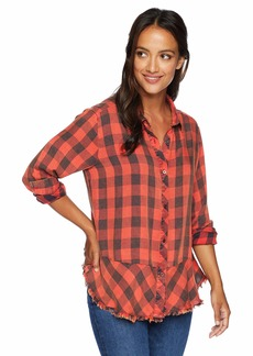 Democracy Women's Long Sleeve Plaid Button Up Shirt  L
