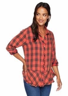 Democracy Women's Long Sleeve Plaid Button Up Shirt  M