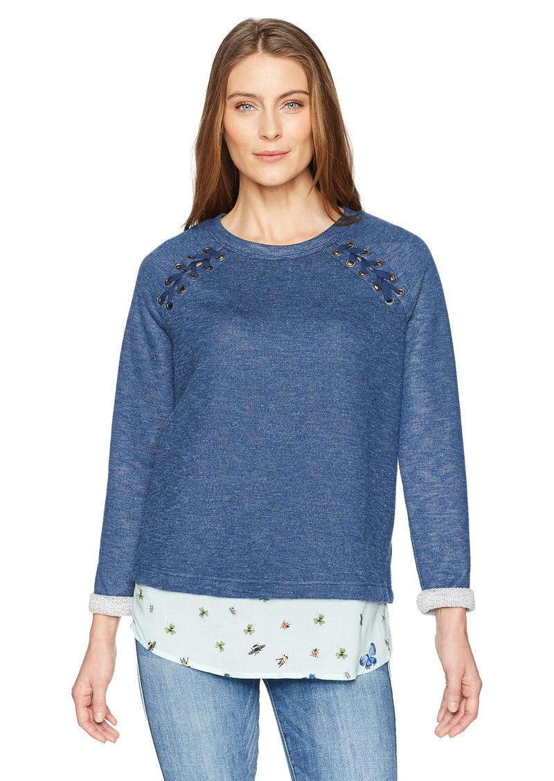 Democracy Women's Long Sleeve Raglan 2fer with Lace up  M