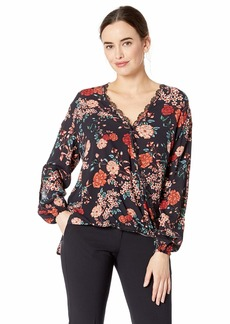 Democracy Women's Long Sleeve Wrap top with Lace Detail Black/Mahogony dust L