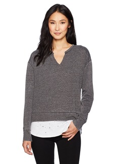 Democracy Women's L/s 2-Fer Top W V-Notch  M