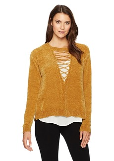 Democracy Women's L/s Cable Front Lace up Two-Fer Sweater  L