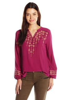 Democracy Women's L/s Emb Front Shirt Tail Blouse  S