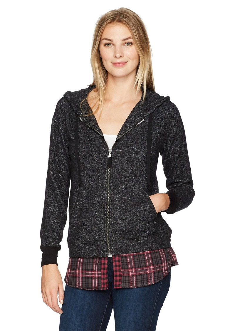 Democracy Women's L/s Hoodie Zip Front 2fer  S