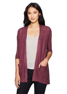 Democracy Women's L/s Lace up Back Open Front Cardigan  S