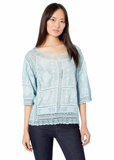 Democracy Women's Mineral Wash Crochet Top with Kimono Sleeve  XL