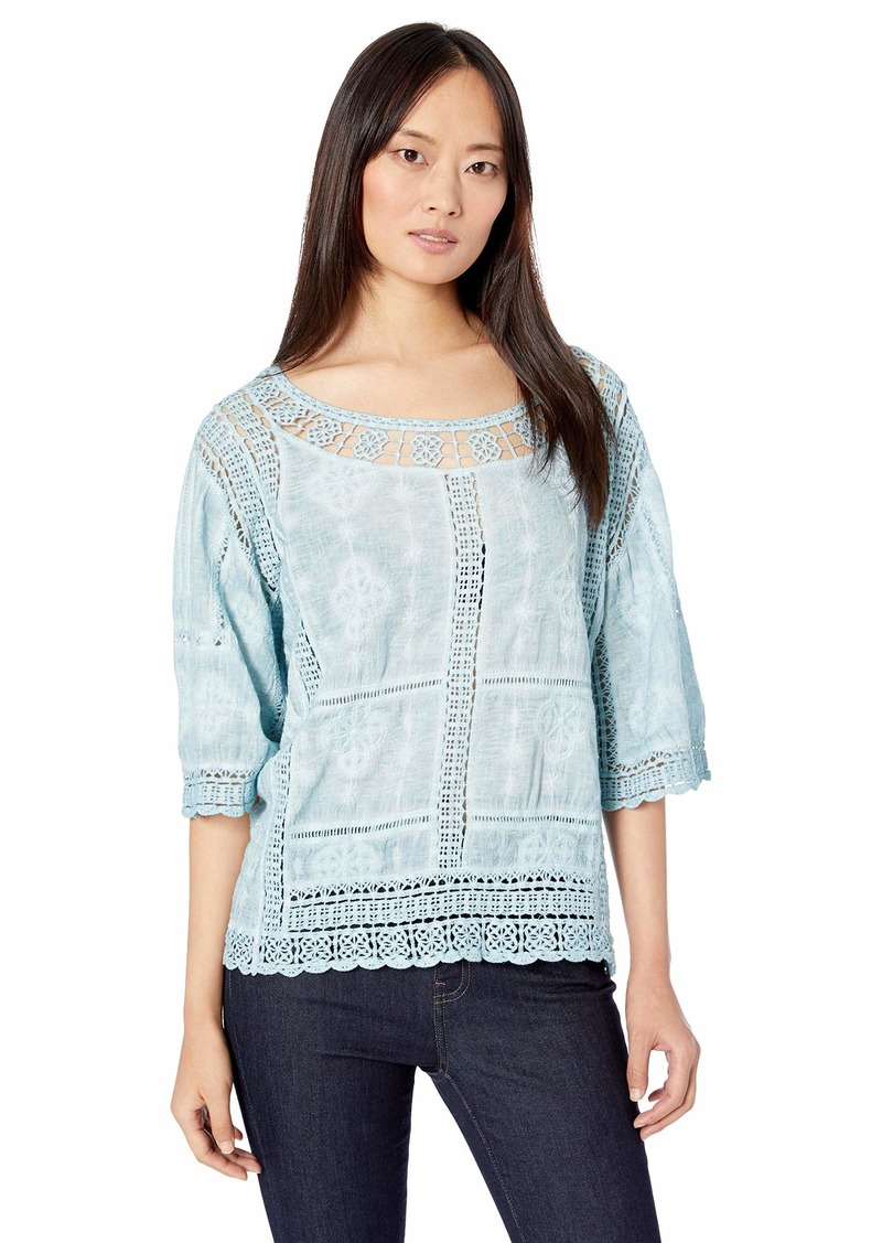 Democracy Women's Mineral Wash Crochet Top with Kimono Sleeve  XL