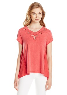 Democracy Women's Mineral Wash Dye Cut Knit Top with Sharkbite Hem