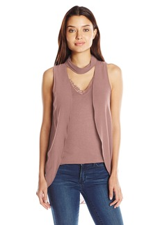 Democracy Women's Mock Neck Front Overlay Knit to Woven Top  M