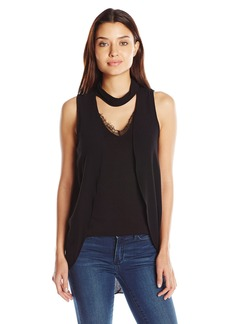 Democracy Women's Mock Neck Front Overlay Knit to Woven Top  S