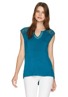 Democracy Women's Notch Neck Tank W SHIRTAIL Hem  M