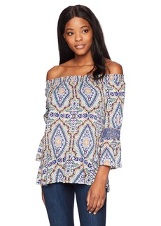 Democracy Women's Off The Shoulder Top with Smocked Elbow  S