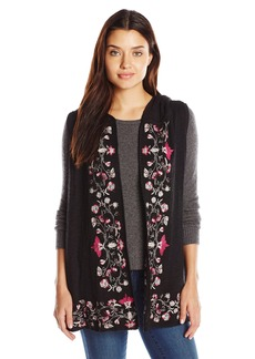 Democracy Women's Open Front Embroidered Vest  L