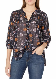 Democracy Women's Pleated Button Up L/s Blouse  M