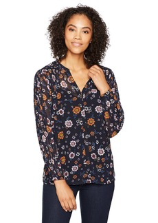 Democracy Women's Pleated Button up L/s Blouse  XL