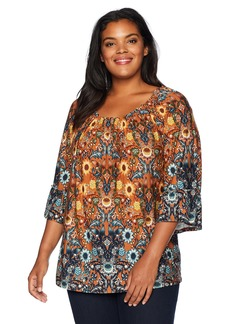 Democracy Women's Plus Size 3/4 Bell Sleeve Peasant Top