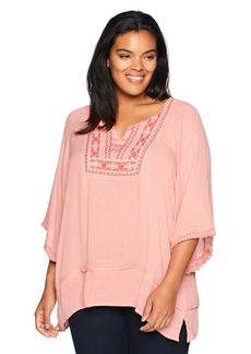 Democracy Women's Plus-Size 3/4 Sleeve Cold Shoulder Top with Fringe