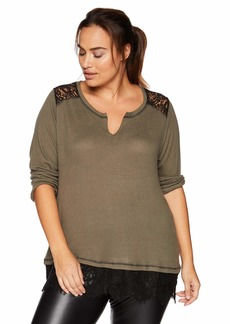 Democracy Women's Plus Size 3/4 Sleeve Lace 2fer Top ash Green