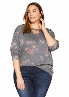 Democracy Women's Plus Size 3/4 Sleeve Printed Sweatshirt with lace up