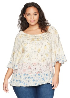 Democracy Women's Plus Size 3/4 Sleeve Printed Top Smocked Neck
