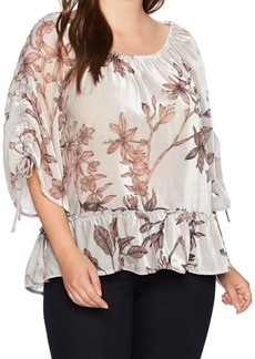 Democracy Women's Plus-Size 3/4 Sleeve Top with Flounce Hem
