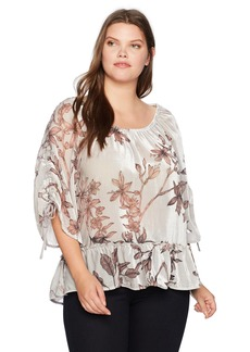 Democracy Women's Plus Size 3/4 Sleeve Top with Flounce Hem