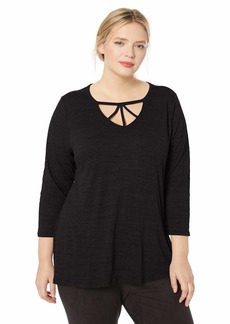 Democracy Women's Plus Size 3/4 Sleeve V Cut Out Trapeze TOP